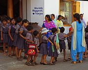 Children lining up for school in Kochi.