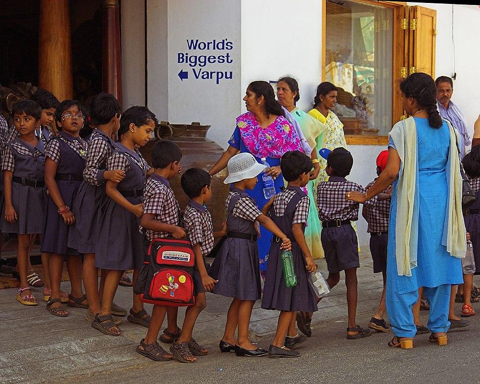 School children line Cochin Kerala India