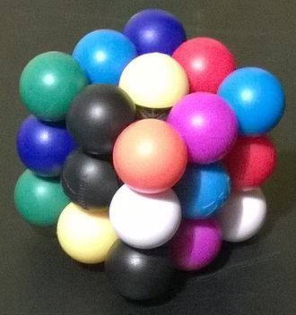Nine-Colour Cube - Meffert's Molecube, scrambled.