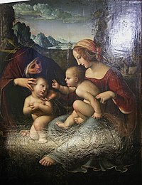Scuola di perugino, madonna col bambino, santa elisabetta e san giovannino.JPG