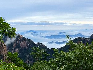 Huangshan - Sea of clouds viewed from top of Huangshan