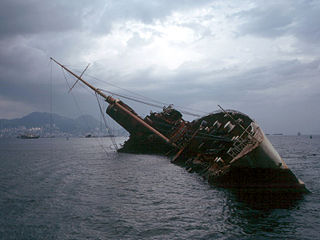 Capsizing Action where a vessel turns on to its side or is upside down