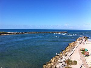 Sebastian Inlet - Mouth of the Sebastian Inlet showing the North Jetty on the left and the South Jetty on the right.