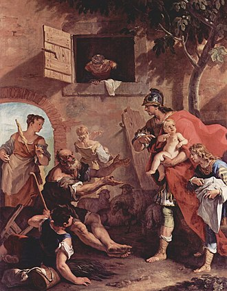 Harpagus - Harpagus bring infant Cyrus to the shepherd. Sebastiano Ricci (1659–1734)
