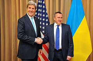 Ministry of Foreign Affairs (Ukraine) - U.S. Secretary of State John Kerry with Ukrainian Foreign Minister Andrii Deshchytsia before the two joined with Russian and European Union officials about Ukraine in Geneva, Switzerland, on April 17, 2014.