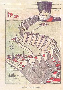 """The Sheep of Ankara, shows its hand last."" Political cartoon by Sedat Simavi, in Istanbul magazine Güleryüz on October 1922. In the Background: Ankara, In the Foreground: Istanbul"