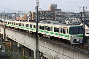 Sendai Subway 1000 series - A refurbished Sendai Subway 1000 series train, October 2008