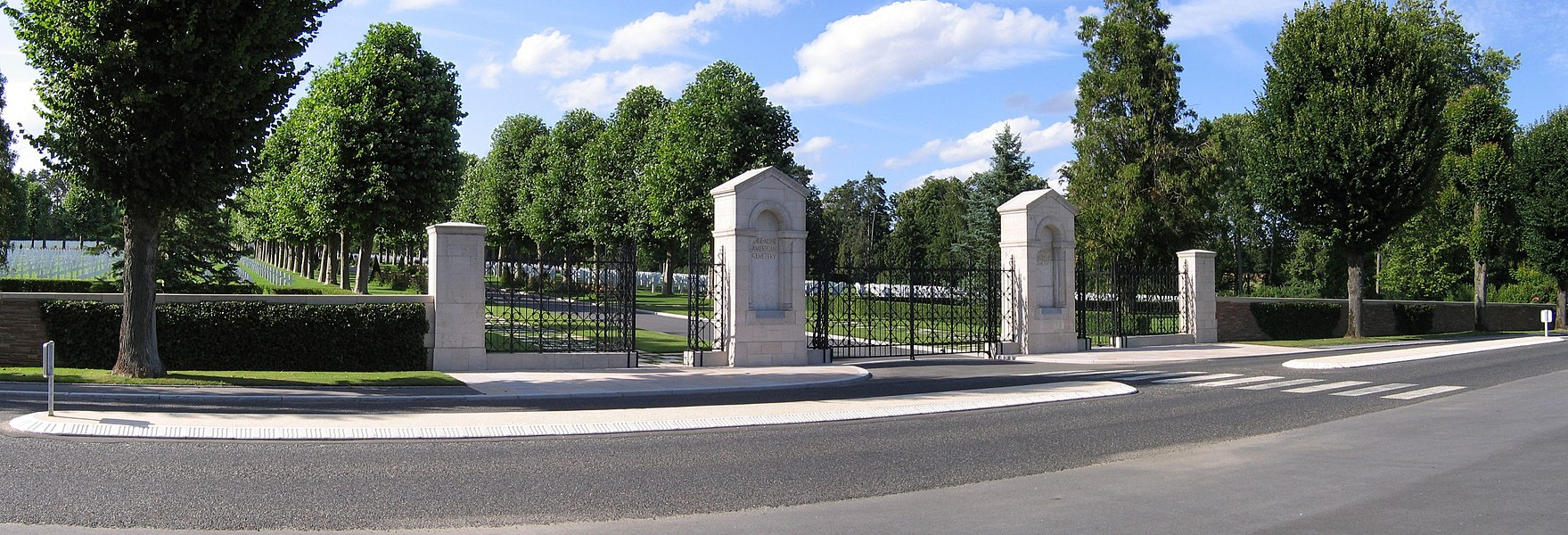 Main entrance of Oise-Aisne American Cemetary in Seringes-et-Nesles, near Fère-en-Tardenois, France