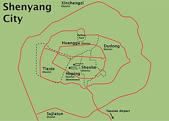 Shenyang's districts, landmarks and major roads ShenyangDistrictAndLandmark.jpg