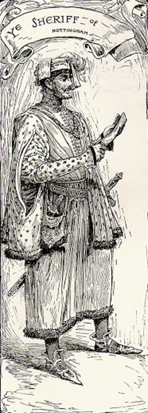 Sheriff of Nottingham (position) - An illustration of the Sheriff of Nottingham from Bold Robin Hood and His Outlaw Band: Their Famous Exploits in Sherwood Forest. Louis Rhead. New York: Blue Ribbon Books, 1912