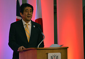 Abenomics - Prime Minister Abe discussing his economic policies in a speech in London, June 2013.