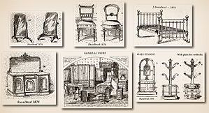 Interior design - Illustrated catalog of the James Shoolbred Company, published in 1876.