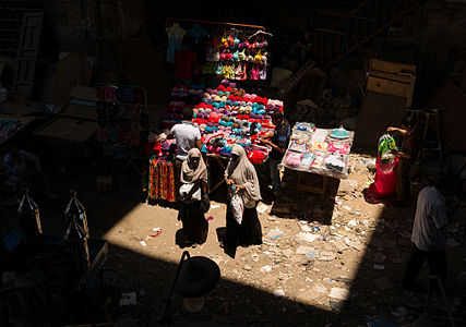 Two Egyptian women shopping at a market next to the Al-Ghouri Complex in Cairo, Egypt.