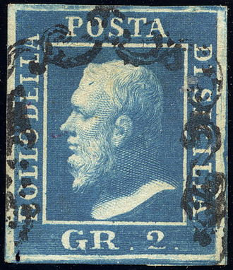 "Cancellation (mail) - 1859 stamp of Sicily with deferential cancellation designed not to deface the ""sacred image"" of King Ferdinand II"