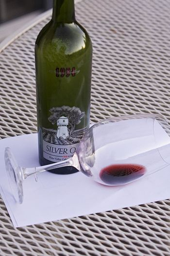 A bottle and remnants of a 1994 Silver Oak Cab...