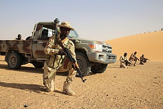 Faya-Largeau - A Chadian soldier part of an exercise near Faya-Largeau