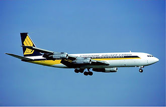 Singapore Airlines Cargo - Singapore Airlines Boeing 707-320C freighter (9V-BFN) at Zurich Airport in 1979.