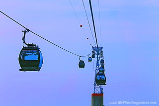 Singapore Cable Car Gondola lift providing an aerial link from Mount Faber to the resort island of Sentosa