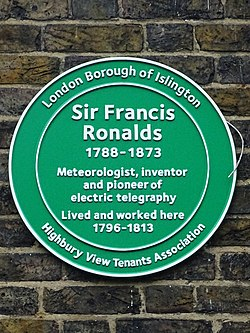 Sir francis ronalds green plaque