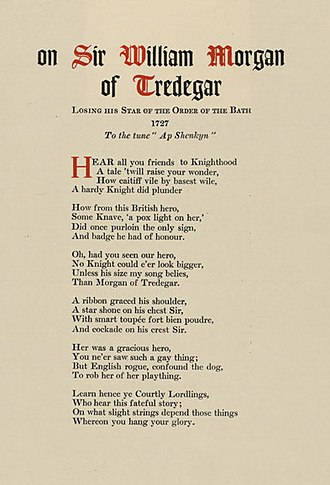 William Morgan (of Tredegar, elder) - Ballad of Sir William Morgan 'On Losing his Star of the Order of the Bath'; 1727.