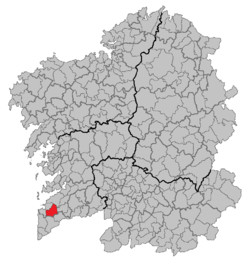 Location of Gondomar within Galicia