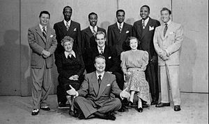 "Verna Felton - Raleigh Cigarettes Program 1948 cast: Standing: Pat McGeehan, The Four Knights, David Rose (orchestra leader). Seated: Verna Felton (""Grandma"" to Skelton's ""Junior"" character), Rod O'Connor (announcer), Lurene Tuttle (""Mother"" to Skelton's 'Junior' character). Front: Red Skelton."