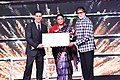 Smriti Irani presenting the Indian Film Personality of the Year Award to Bollywood legend Amitabh Bachchan, at the closing ceremony of the 48th International Film Festival of India (IFFI-2017), in Panaji, Goa (1).jpg