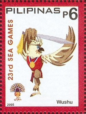Wushu at the 2005 Southeast Asian Games - Image: Southeast Asian Games 2005 stamp of the Philippines Wushu
