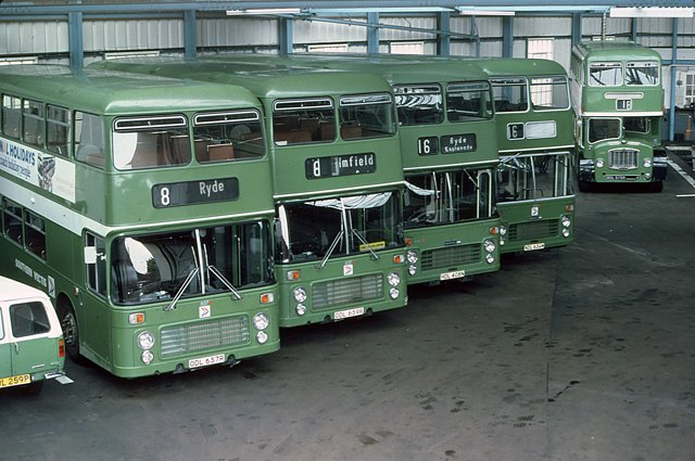 Southern Vectis NBC bus Bristol VR ECW ODL 657R and others in Ryde depot, Isle of Wight August 1979