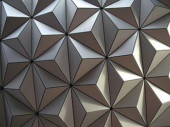 A close-up shot of Spaceship Earth's tiles at ...