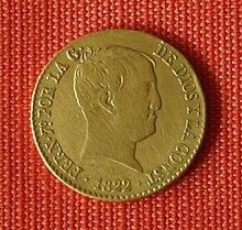 Goldmünze über 80 Reales von Fernando VII aus 1822 (geprägt nach der Norm der Lateinischen Münzunion) (Quelle: Wikimedia)