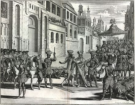 Spanish Conquest of Mexico, meeting of Cortes and Moctezuma II Spanish Colonization of Mexico.jpg