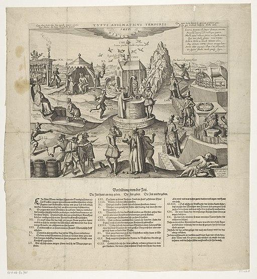 Spotprent op de pogingen van paltsgraaf Wolfgang Willem en Leopold om Gulik in hun macht te krijgen, 1610 Typus Aenigmaticus Temporis (titel op object), RP-P-OB-80.761