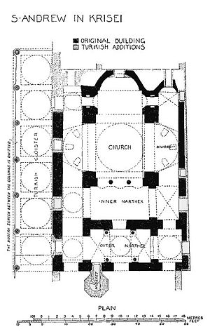 Koca Mustafa Pasha Mosque - Plan of the mosque, after Van Millingen, Byzantine Churches of Constantinople (1912)