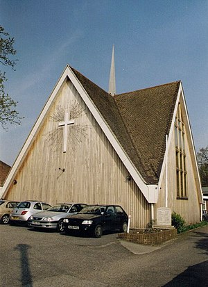 Wood Street Village - The single place of worship in the village was built in 1967 to a very tall single-storey gable end roof design