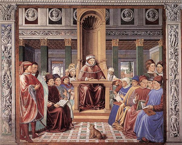 Беноццо Гоццоли. Св. Августин учит в Риме. Роспись ц. Сант-Агостино в г. Сан-Джиминьяно. 1464—1465гг.