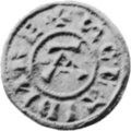 A black and white photo of an Anglo-Scandinavian coin