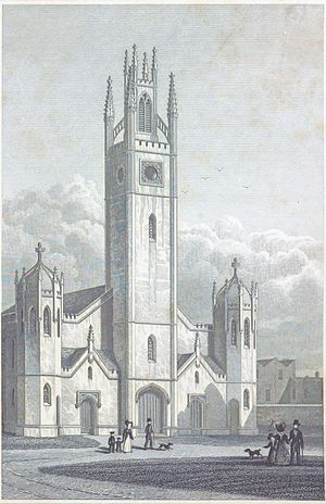 St Mary, Haggerston - The tower and west front of the church, in an engraving after a drawing by T.H.Shepherd, published in Shepherd and Elmes' Metropolitan Improvements (1828).