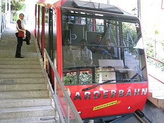 Harderbahn funicular that operates from the town of Interlaken, in the Swiss canton of Bern, to Harder Kulm