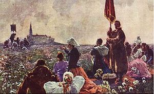 Ludwik Stasiak - Pilgrims at Jasna Góra Monastery  (postcard from 1914)