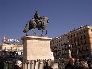 Statue of Carlos III in Puerta del Sol of Madrid Spain.jpg