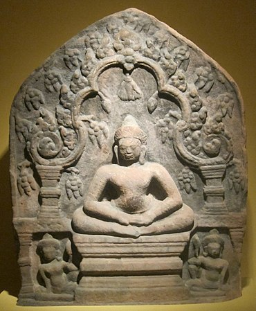 Stele with seated Buddha from Cambodia or northeast Thailand, Khmer, 12th century, sandstone, HAA.JPG