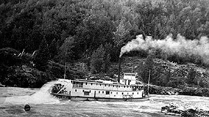 Skeena River - SS ''Inlander'' on the Skeena River at Kitselas Canyon, 1911