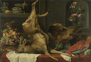 Still life with a deer, a boar's head, fruits and flowers