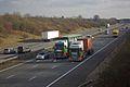 Stobart trucks on the M6, Warwickshire, 2 February 2012.jpg