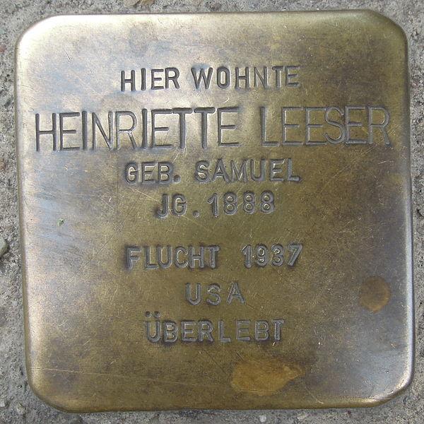 File:Stolperstein Rinteln Markt 1 Henriette Leeser.jpg
