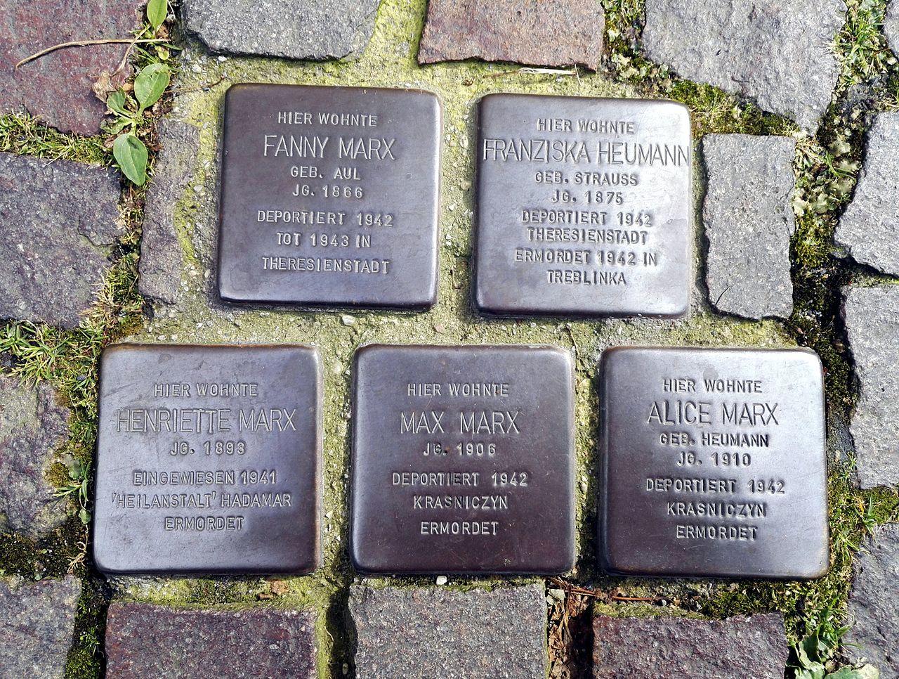 Stolpersteins Fanny Marx, Franziska Heumann, Henriette Marx, Max Marx, Alice Marx, Marktstraße 59, Remagen