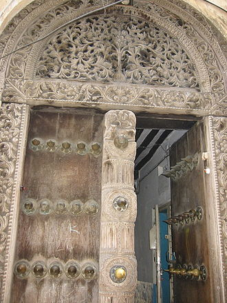 History of Zanzibar - A carved door in Stone Town.