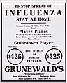 Stop the Pandemic - Stay at Home with Player Piano - Grunewalds Ad New Orleans 1918.jpg