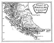 The Strait of Magellan cuts through the southern tip of South America connecting the Atlantic Ocean and Pacific Ocean.